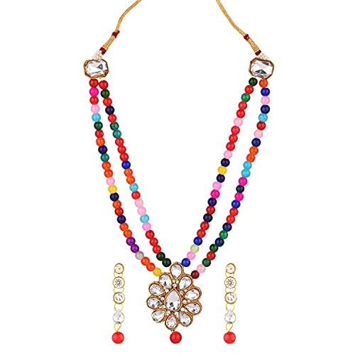 Efulgenz Joyería india con colgante floral de cristal de perlas de imitación y collar con cuentas colgantes y pendientes de Bollywood para mujer, Metal, desconocido,