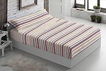 Foren Tex - Juegos de sábanas, (Line Beige), Cama 150 cm, pirineo, para Invierno térmicas de 110 g/m2, exclusivas. Económicas excepcional Calidad Precio.