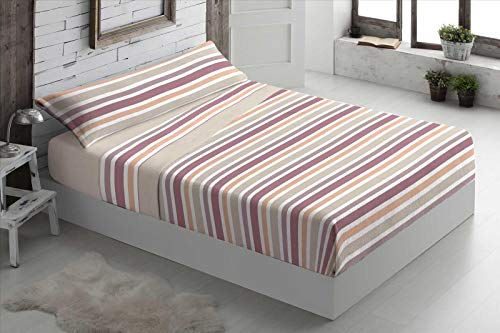 Foren Tex - Juegos de sábanas, (Line Beige), Cama 90 cm, pirineo, para Invierno térmicas de 110 g/m2, exclusivas. Económicas excepcional Calidad Precio.