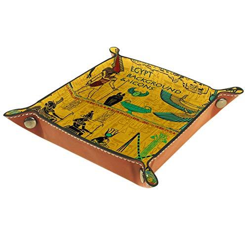 Tablett Leder,Alter ägyptischer Pharao,Leder Münzen Tablettschlüssel für Schmuck,Telefon,Uhren,Süßigkeiten,Catchall-Tablett für Männer & Frauen Großes Geschenk