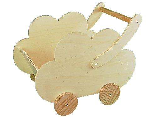greca Carro Infantil Madera. En Forma de Nube. En Crudo, para Pintar. Medidas (Ancho/Fondo/Alto): 50 * 30 * 43 cms.