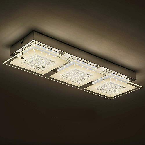 LED Ceiling Light Fixture with 3-Light,Minimalist Glass Flush Mount Lamp Auffel Morden Dimmable 18 Inch Crystal Chandelier Ceiling Wall Light 1980LM 4000K Daylight White for Kitchen Porch Bedroom