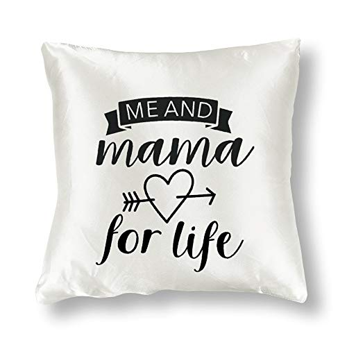 Satin Pillowcase Double Square Me and Mama for Life Baby Toddler Boy Love Pillowcases, Pillowcase for Hair and Skin, Throw Pillow Covers, Cushion, The Best Gift of Christmas,Halloween, Thanksgiving