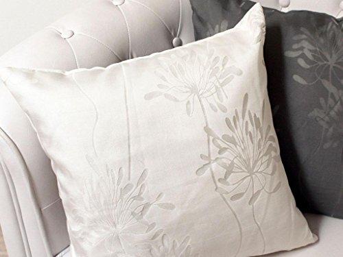 Soleil d'Ocre 547674 Fleur Coussin Dévoré Polyester Naturel/Ecru 40 x 40 cm
