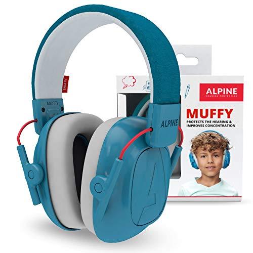 Alpine Muffy Protectores de Oído para Niños - Cascos Antiruido para niños de hasta 16 años - Cascos de Insonorización diseñados niños - Cómoda protección auditiva - banda de sujeción ajustable - Azul