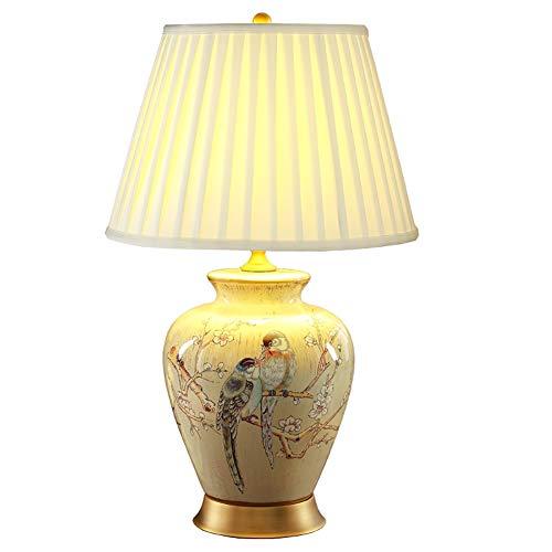 Lamparas De Mesita De Noche Lamparas De Mesa Lámpara de mesa, clásico ambiente de lujo retro Lámpara de cerámica de mesa americana, antiguo Tela completa Cobre lámpara de cabecera en sala de estar dor