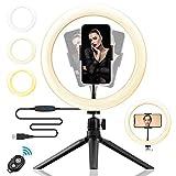 "Luz de Anillo LED 10' fotográfica de Escritorio,Anillo de Luz LED 10"" con Trípode,3 Colores y 10 Brillos Regulables,360 Rotar para Vlogging TIK Tok Youtube Video Shooting Maquillaje Selfie"