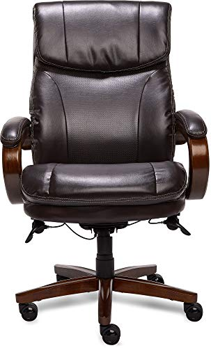 La-Z-Boy Trafford Big and Tall Executive Office Chair with AIR Technology, High Back Ergonomic Lumbar Support, Brown Bonded Leather