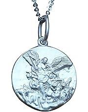 Sicuore Medalla Colgante San Miguel Arcangel - Plata de Ley 925 Incluye Cadena 45cm Y Estuche para Regalo