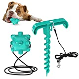 JOEJOY Outdoor Dog Toys with Tie Out Stake Molar Ball, Interactive Dog Tug Toy Puppy Rope Chew Toy Rubber Ball Teething Clean for Small Medium Large Dogs Yard Camping Outside