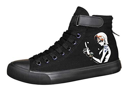 Cosstars One Piece Anime Zapatos de Cordones Sneakers Plimsolls Zapatillas Deportivas para Hombre Mujer 41 EU Negro 8