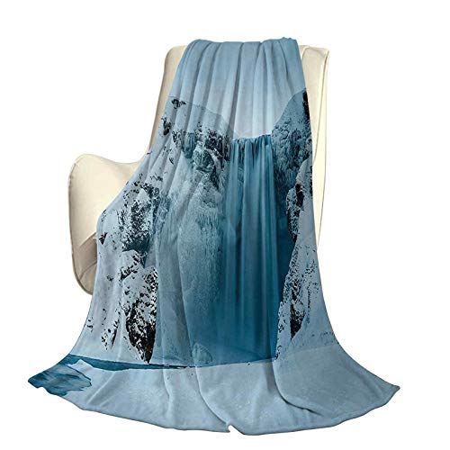 Waterfall Fluffy Plush Soft Comfortable Warm blanketFrozen Waterfall Heavenly Landscape View with Mountains Covered with Snow Art Luxury air-Conditioning Duvet Cover W60 x L50 Inch Petrol Blue