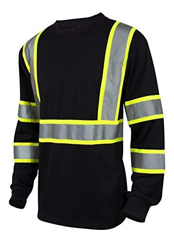 L&M Hi Vis Class 3 T Shirt Reflective Safety Black Long Sleeve HIGH Visibility 39 (XL, Black)