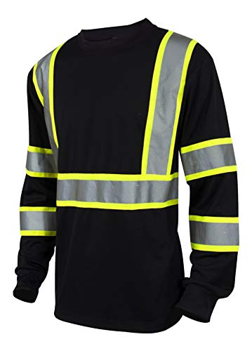 L&M Hi Vis Class 3 T Shirt Reflective Safety Black Long Sleeve HIGH Visibility 39 (L, Black)
