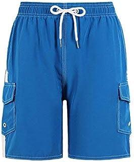 QRANSS Boys Kids Shark Printed Swim Trunks Board Shorts with Pockets (Small(US 4-6) Blue1) [並行輸入品]