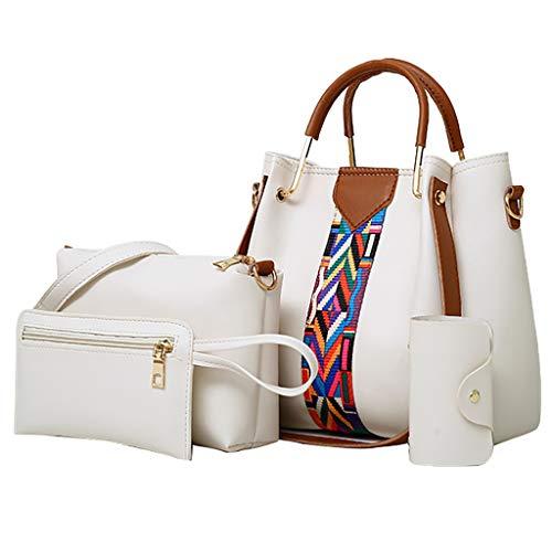 MILIMIEYIK, Women Fashion Synthetic PU Leather Handbags+Shoulder Bag+Purse 3pcs Set Tote White