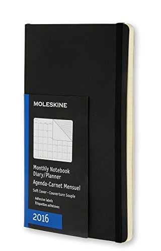 Moleskine 2016 Monthly Notebook, 12M, Large, Black, Soft Cover (5 x 8.25)