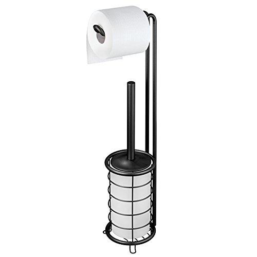 mDesign Toilettenpapierhalter ohne Bohren - Klorollenhalter fürs Badezimmer - Farbe: Frost/Satiniert - Papierrollenhalter mit Bürste