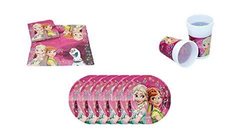 ALMACENESADAN 1084, Disney Frozen Einwegartikel sowie Party- und Geburtstagspaket; 16 Papierservietten, 6 Gläser und 6 Teller 19,5 cm