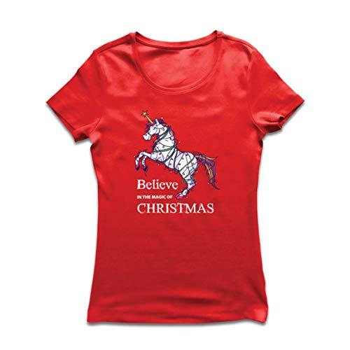lepni.me dames T-shirt geloof in de magie van Kerstmis, Kerstmis eenhoorn
