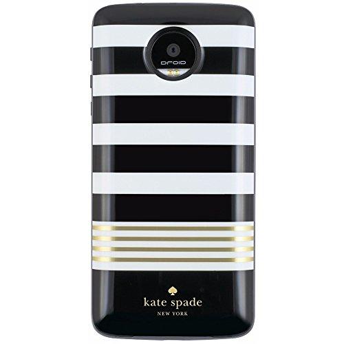 kate spade new york Battery Case for Motorolo Z Droid, Z Play Droid - Stripe 2 Black/White/Gold Foil