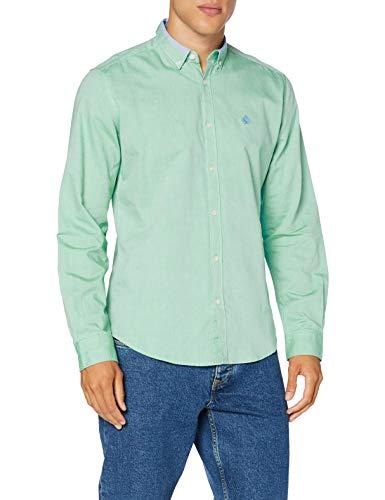Springfield Solid Pinpoint Collar-c/22 Camisa Casual, Verde (Green 27743622), S (Tamaño del Fabricante: S) para Hombre