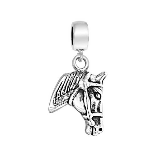 Through Breed Horse Head Equestrian Dangle Charm Bead For Women Cow 925 Sterling Silver Fits European Bracelet
