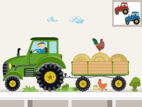 """Wandtattoo\""""Traktor mit Anhänger MIDI\"""" Bauernhof personalisierbarer Wandsticker für Kinderzimmer und Babyzimmer"""