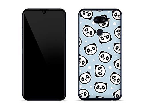 etuo Hülle für LG K40S - Hülle Fantastic Hülle - Panda auf blauem Gr& Handyhülle Schutzhülle Etui Hülle Cover Tasche für Handy