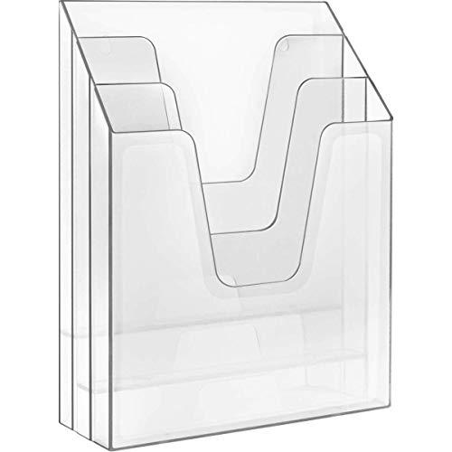 Acrimet Organizador Vertical Triple Para Carpetas y Papeles (Color Cristal Transparente).