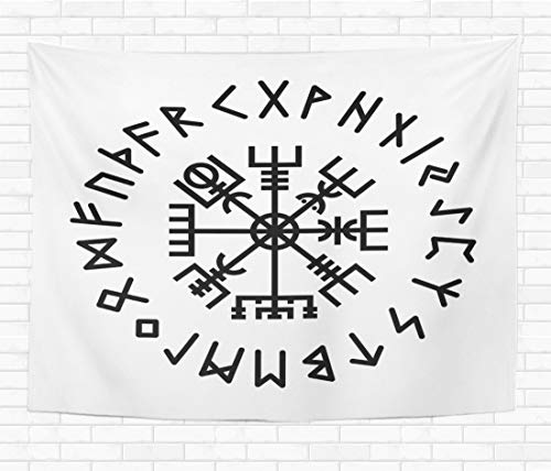 Assp Tapestry Norse Vegvisir Rune Abstract Algiz Amulet Celtics Collection Creative 60x80 Inches Home Decorative Wall Hanging Tapestries for Living Room Bedroom Dorm