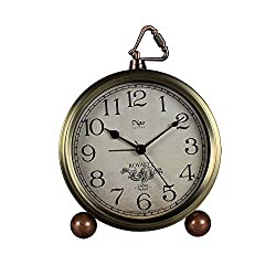 Table Clock Non-Ticking, Metal Vintage Alarm Clock Battery Operated Analog Silent Table Desk Clock Beside Clock with Quartz Movement Bedroom Living Room Kids (Gold-A)
