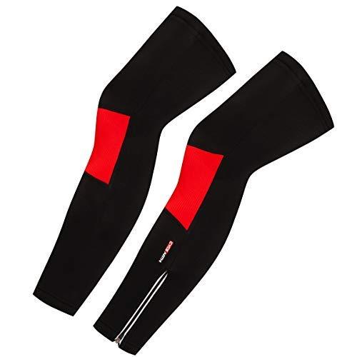 Cycearth Herren-Beinwärmer, Thermo-Fleece, warm, winddicht, für Mountainbikes, Rennrad,Schwarz+Rot,M