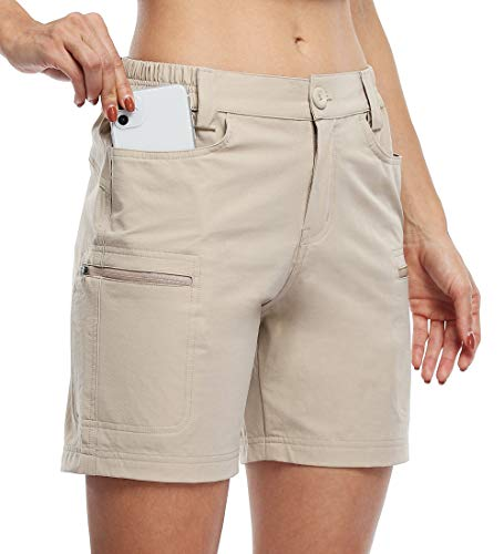 """Willit Women's Hiking Cargo Shorts Stretch Golf Active Shorts Outdoor Summer Shorts with Pockets Water Resistant 5"""" Khaki L"""