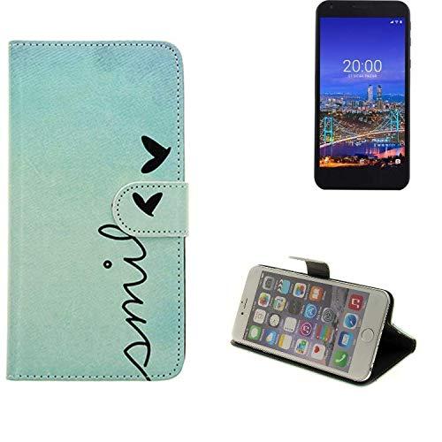 K-S-Trade® Schutzhülle Für Vestel 5530 Hülle Wallet Case Flip Cover Tasche Bookstyle Etui Handyhülle ''Smile'' Türkis Standfunktion Kameraschutz (1Stk)
