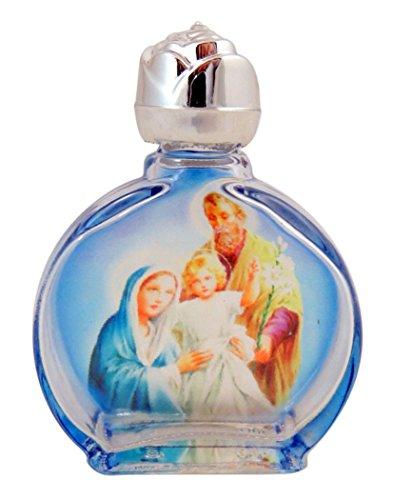 gebeizt Glas Heilige Familie Christi Weihwasser Flasche mit Rosebud Deckel, 0,5oz