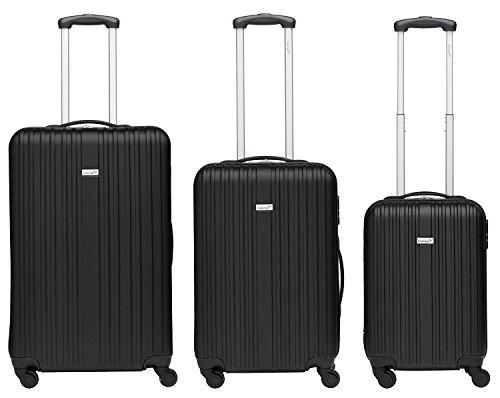 Packenger Kofferset - Line - 3-teilig (M, L & XL), Schwarz, 4 Rollen, Koffer mit Zahlenschloss, Hartschalenkoffer (ABS) robuster Trolley Reisekoffer