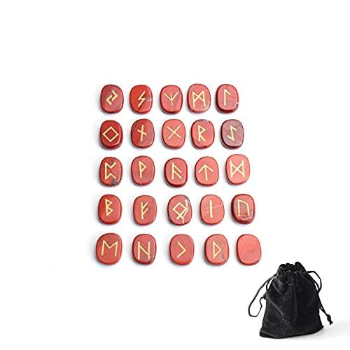 GZSC Natural Red Jasper Tallado Crystal Reiki Curación Piedras Palmeras grabadas Pagan Letras Rune Stones Set con una Bolsa Gratis