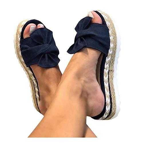Aniywn Summer Bow Tie Flip Flops Flat Espadrille Platform Wedge Sandals for Women Casual Breathable Open Toe Sandals Blue