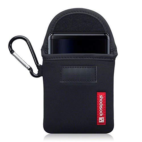shocksock, Kompatibel mit Samsung Galaxy Z Flip Neopren Tasche mit Carabiner Hülle - Schwarz