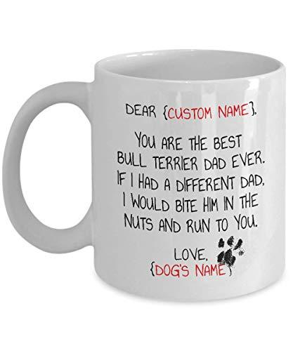 N\A Regalos de Bull Terrier, Regalos de Bull Terrier para Hombres, Papá de Bull Terrier, Taza de Bull Terrier, Taza de papá de Bull Terrier, Divertida Idea de Regalo de Bull Terrier