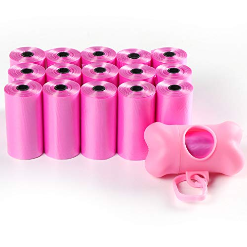 Augie's Doggies ~ Premium Dog Waste Bags with Free Bone-Shaped Dispenser and Leash Clip, Leak-Proof, Earth-Friendly Poop Bags for Dogs, Bulk Pack - Includes 16 Rolls! (Pink)