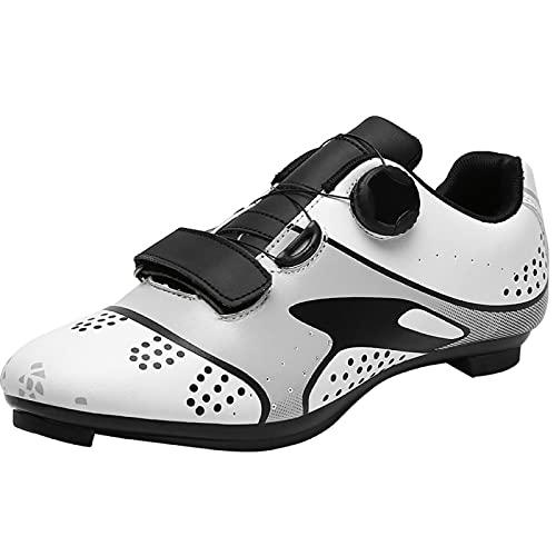 AGYE Zapatillas Ciclismo Hombre Carretera,Zapatilla Peloton para Mujer con SPD y Zapatillas de Bicicleta con Pedal Delta Lock,White-40