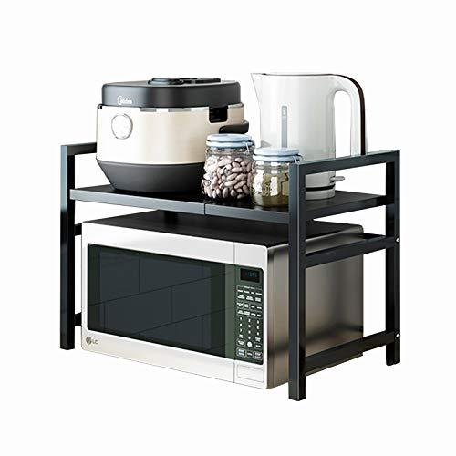 WXYZ Support de Four à Micro-Ondes Porte-Four à Micro-Ondes en Acier Noir, réglable de 40 à 64cm, Peut accueillir Une Machine à fax à cuisinière à Induction 40-64x36x45cm