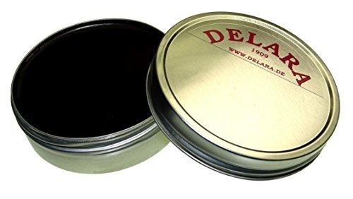 DELARA Hochwertiger Pflegebalsam für Leder mit Jojoba und Bienenwachs - schützt Glattleder wirksam vor Austrocknung und Oxidation, Farbe: Schwarz - Made in Germany