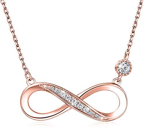 Roségouden Dames Ketting 925 Zilver Infinity Love Hanger met Zirkoon Dames Sieraden Infinity Ketting Dames Cadeau, 45cm Verstelbare Ketting