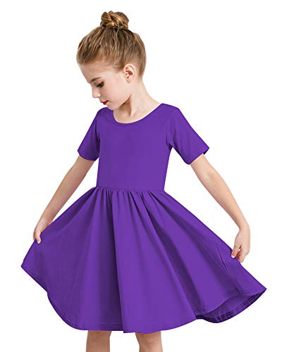 STELLE Toddler/Girls Short Sleeve Casual A-Line Twirly Skater Dress for School Party 3-12 Years Purple