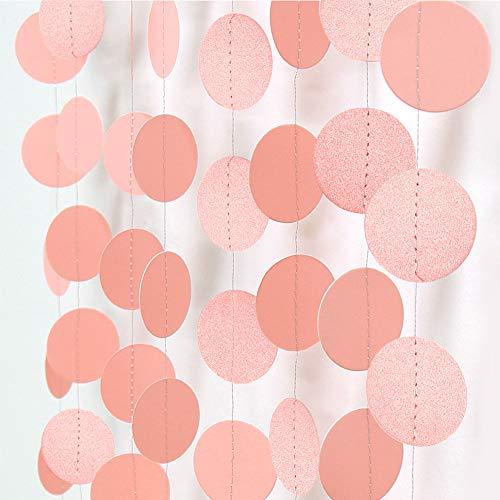 Cheerland Glossy Light Pink Circle Paper Garland Hanging Peach Polka Dot Streamer Party Decorations Bunting Banner Backdrop Girls Birthday Decor/Wedding/Baby Shower/Engagement/Bridal Shower/Graduation