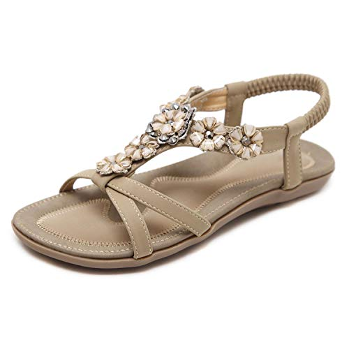 SHIBEVER Women's Summer Sandals Bohemian Beach Shoes Ankle T-Strap Thong Elastic Flat Comfortable Sandals Apricot 7