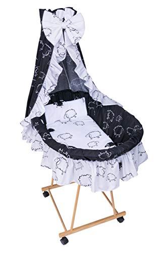 Amilian® 9tlg Textile Ausstattung für STUBENWAGEN Bollerwagen Himmel Matratze Baby Bettwäsche Schaf schwarz/weiß